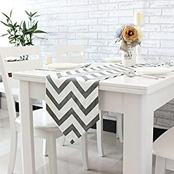 Captivating Uphome 1pc Classical Chevron Zig Zag Pattern Table Runner   Cotton Canvas  Fabric Table Top Decoration