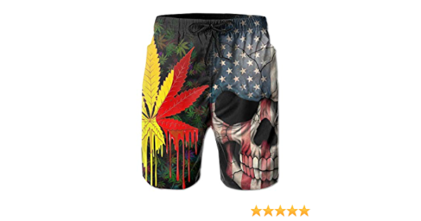 Weed Leaf American Flag Skull Mens Beach Board Shorts Swim Trunks Casual Gym Home Pants with Pocket