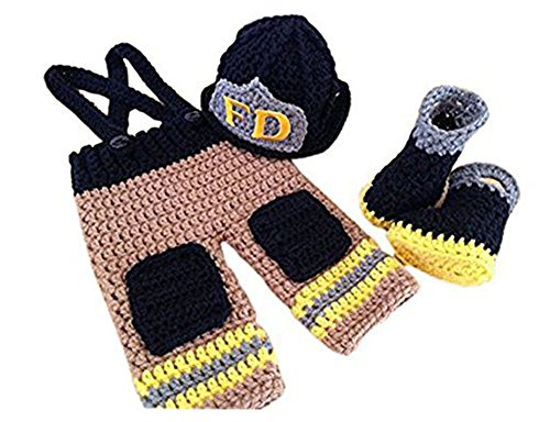 Pinbo Baby Photography Prop Crochet Knitted Firefighter Fireman Hat Pants Shoes]()