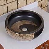 ELIMAX'S 2004 Black and Gold Brown Porcelain Ceramic Bathroom Vessel Sink by ELIMAX'S