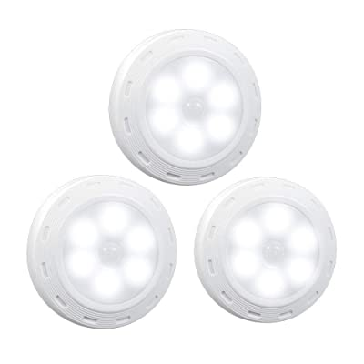 DREAM MASTER Motion Sensor Light Cordless Battery-Powered LED Night, Stick-Anywhere Closet Stair Entrance, Hallway, Basement, Garage, Bathroom, Cabinet Cold White 3p