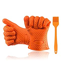 Homaker Silicone Bbq Gloves 482f Heat Resistant Oven Mitts Grill Gloves For Baking Smoking Potholder With Basting Brush Sg 001 K