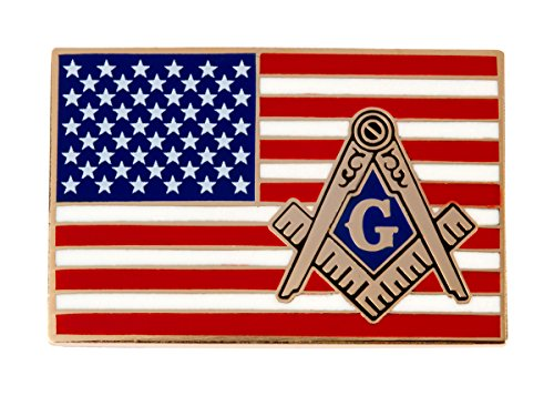 American Flag Masonic Logo Enamel Lapel Tie Pin Freemason Emblem Square Compass - Flag Pin Emblem Lapel