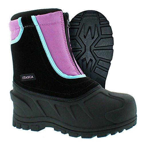 Raspberry Tubing (Itasca Girls' Youth Stomper Leather/Nylon Winter Snow Boot, Raspberry, 10.0 Standard US Width US Little Kid)