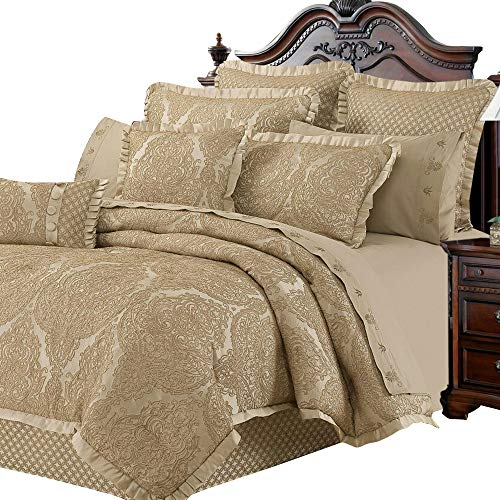 - New Season Home Micasa Collections Antoinette 6 Piece Luxury Lightweight Comforter Set, Jacquard Design with Cream Finish | Includes Boudoir Cushion, Pillow Shams and Euro Shams (King)