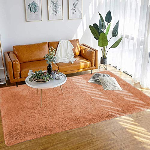 bedee Super Soft Living Room Rug, Large fluffy Area Rug Anti-Skid Faux Fur Rug Modern Shaggy Carpet for Bedroom with 8 pcs Anti-slip Rug Gripper (Brown, 120x160cm)