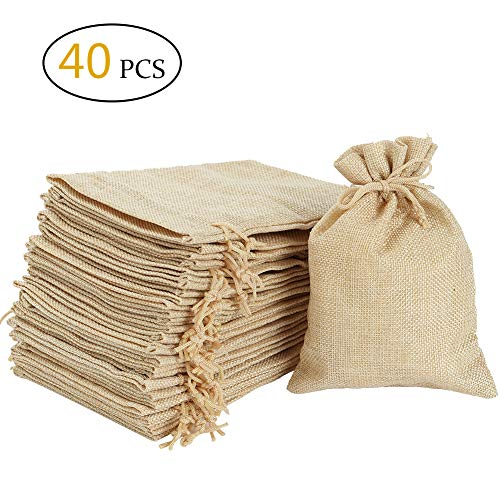 """Burlap Bags with Drawstring -Natural Linen Gift Bags Jewelry Sacks Strong Small Liner Pocket for Festivals, DIY Craft, Present, Parties, Snacks,Jewelry and Anniversaries (5.3""""x3.9"""") ()"""