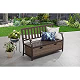 Patio Garden Back Yard Furniture Bench with Wicker Storage Box in Brown