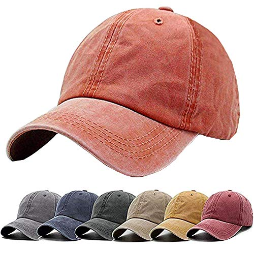 Unisex Vintage Washed Distressed Baseball Cap Twill Adjustable Dad Hat,D-orange,One Size -