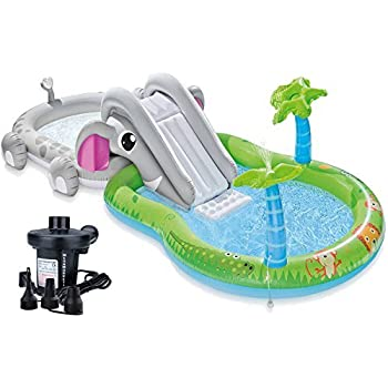 Intex Elephant Inflatable Play Center Swimming Pool for Kids with Slide, Water Sprayer and Electric Pump