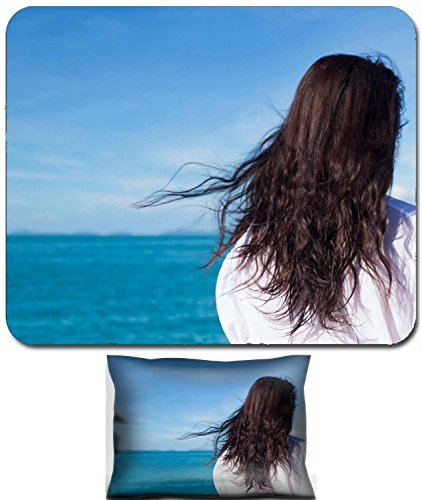 Liili Mouse Wrist Rest and Small Mousepad Set, 2pc Wrist Support IMAGE ID: 15916845 Attractive asian girl sailing on a yacht on summer day