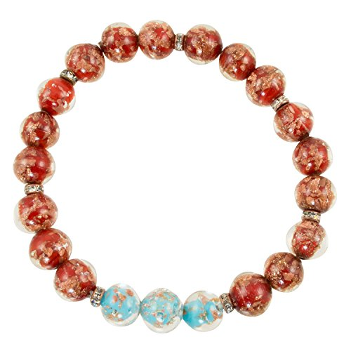 Just Give Me Jewels Genuine Venice Murano Sommerso Aventurina Red and Sky Blue Glass Bead Stretch Bracelet