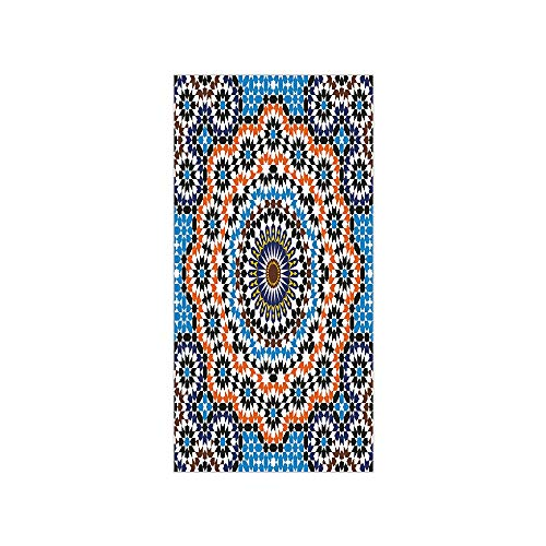 Decorative Privacy Window Film/Moroccan Ceramic Tile Inspired Floral Arabic Old Fashioned Cultural Mosaic Print/No-Glue Self Static Cling for Home Bedroom Bathroom Kitchen Office Decor Multicolor
