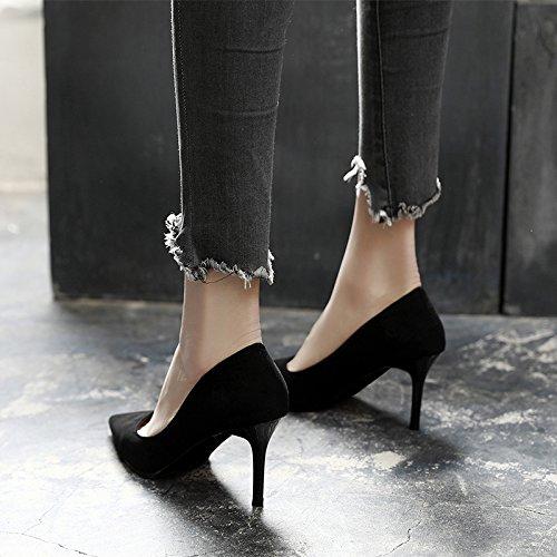 Jqdyl High Heels 2018 Fruuml;hling neue High Heels weibliche Spitze mit professionellen Schuhe wilde Schuhe mit Absauml;tzen  36|Black 9cm