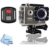 FrenzyDeals Black Ultra HD Wifi Waterproof Sports Camera with Wrist RF remote + FrenzyDeals Microfiber Cloth