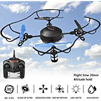 Funmily H4810 RC Quadcopter Drone 25 Mins Flight Time & Altitude Hold function 3 Speed Modes 4 Channel 2.4GHZ (Black)