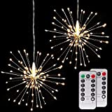 Onforu 2 Pack String (8 Modes Dimmable Remote Control Hanging Starburst with 100 LED Lights – Battery Operated, IP65 Waterproof, Decorative Copper Wire Lights for Partie