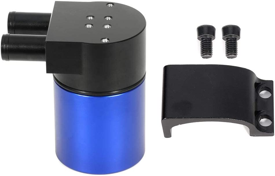 SCITOO Blue Polish Baffled Universal Aluminum 240ML 3//4 inches 2-Port Car Truck Oil Catch Can Reservoir Tank Kit