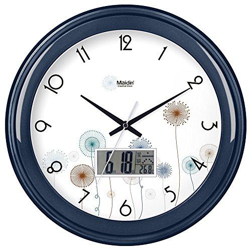 (Komo Stylish Bold Classic Quartz Large Wall Clock Non Ticking Silent Wall Clock living room round creative simple muted electronic quartz clock,14 inch,flat panel,dark blue)