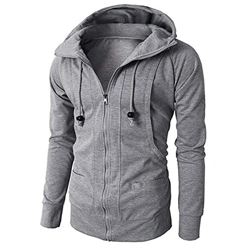 WOCACHI Mens Hoodies Zipper Solid Jacket Pullover Hooded Outerwear Slim Coat Deal Tops Blouse Shirt Autumn Winter -
