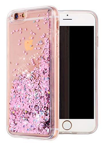 iPhone 6 Case, iPhone 6S Case, WORLDMOM Double Layer Design Bling Flowing Liquid Floating Sparkle Colorful Glitter Waterfall TPU Protective Phone Case for iPhone 6 6s 4.7