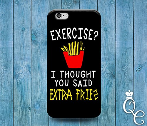 Price comparison product image *BoutiqueHouse* iPhone 4 4s 5 5s 5c SE 6 6s plus + iPod Touch 4th 5th 6th Generation Cute Gym Quote Phone Cover Exercise Extra Fries Black White Funny Case(iPhone SE)