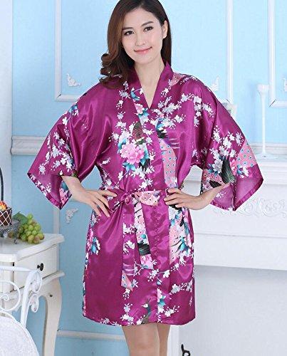 LJ&L Kimono de seda transpirable del camisón del verano de las señoras que baña la rebeca de la comodidad el párrafo corto de la alta calidad suelta el camisón de seda,black,L Purple