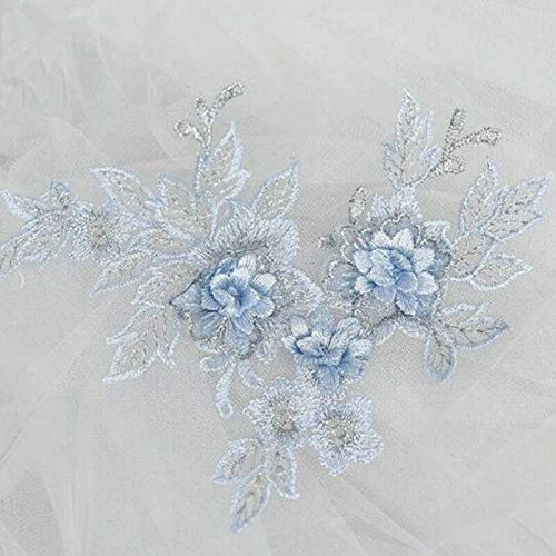 5 Pcs Lace Applique DIY Wedding Dress Headwear Patch Flower Embroidered Trim Motif (Colour - Light Blue)