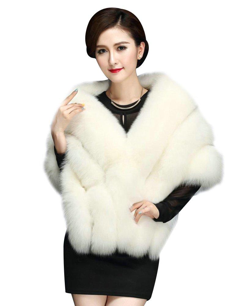 Elfjoy Luxury Faux Fox Fur Long Shawl Cloak Cape Wedding Dress Party Coat for Winter (Whtie-B)
