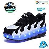 Unisex Niños LED Luz Flash Zapatos De Roller Con USB Recargable Automática Ruedas Patines Al Aire Libre Gimnasia Zapatillas De Skateboard Para Zapatillas Con Ruedas,,Tamaño (28-42)black white-31