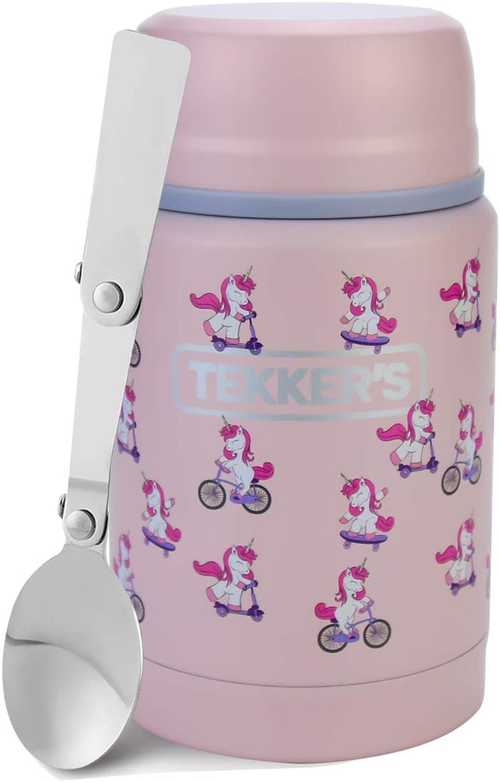 TEKKER'S Insulated Thermos Food Jar Lunch Thermos 17 Oz Stainless Steel Container Kids Vacuum Flask Folding Spoon Office Travel Camping Work School Outdoors Pink Unicorns