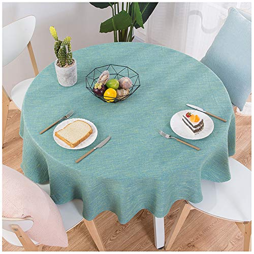- SCOFEEL HOME Modern Cotton and Linen Solid Spill Proof Cloth Round Tablecloths