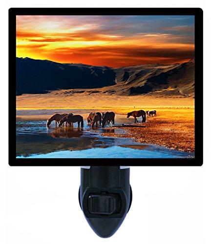Night Light - Drinking Horses - Landscape - Grazing - Western - LED NIGHT LIGHT (Night Western Light)
