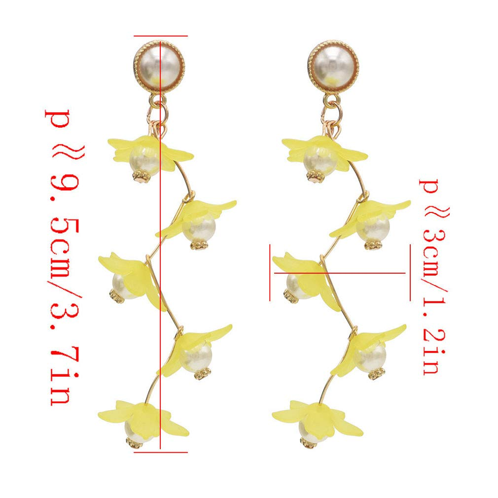 Jinxian Pearls Drop Earrings Dangling Vintage Retro Gold Plated Studs