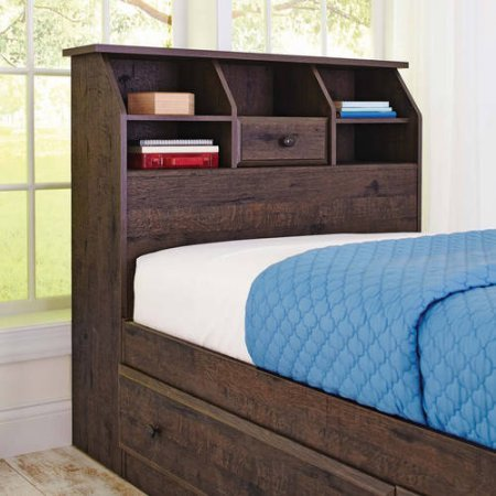 Cubbyhole Storage Crossmill Twin Bookcase Headboard (Heritage Walnut)