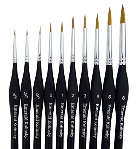Best Professional Siberian Kolinsky Sable Detail Paint Brush, Value Set of 10, High Quality Miniature Brushes Will Keep a Fine Point and Spring, For Watercolor, Oil, Acrylic, Nail Art & Models