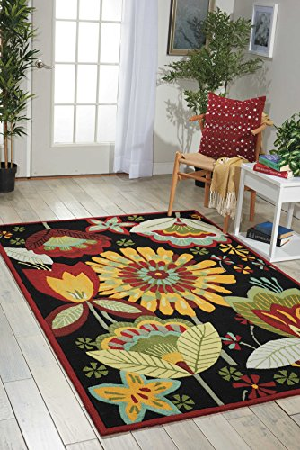 - Nourison Fantasy (FA12) Black Rectangle Area Rug, 3-Feet 6-Inches by 5-Feet 6-Inches (3'6
