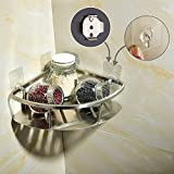 CIENCIA Bathroom Storage Basket Wall Mounted Bathroom Shelves Self Adhesive Corner Shelf Stainless Steel Shower Organizer, Brushed Nickle, 8.4'', SBH155D