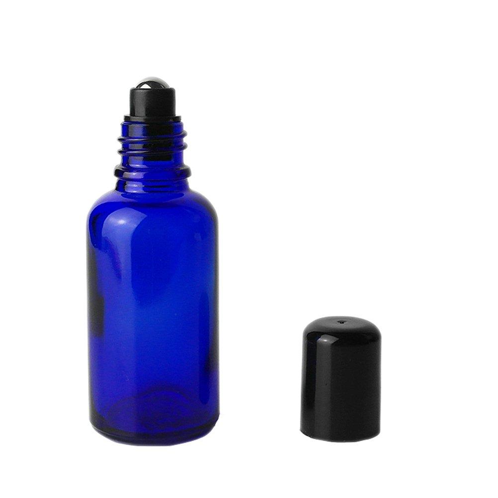 (30ml) - 4 Pcs NEW Blue Glass Roller Bottles Empty Refillable Essential Oil Roll On Bottles Fragrance Perfume Cosmetic Lotion Sample Metal Roller Ball Bottles With Black Plastic Cap (30ml) B071ZPXKGC  30ml