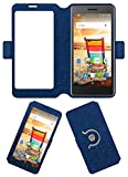 Acm SVIEW Window Designer Rotating Flip Flap Case for Micromax Bolt Q332 Mobile Smart View Cover Stand Blue