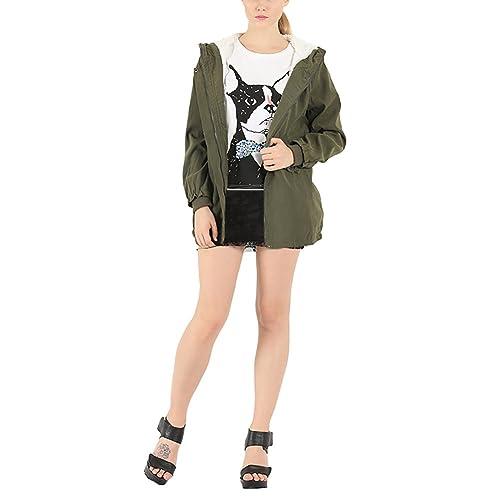 iBaste Abrigos de Mujer Invierno Media-largo Casual Chaqueta Military Jacket con Capucha