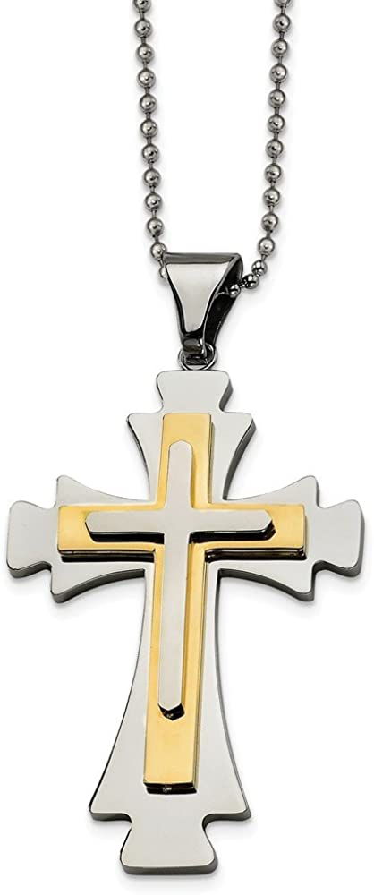 Stainless Steel Gold IP-Plated Cross Pendant 22in Necklace 1mm