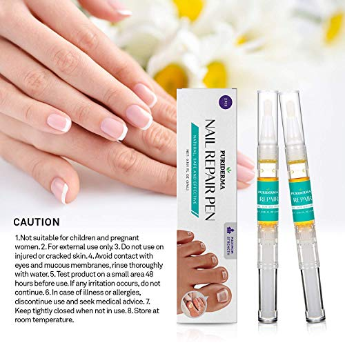 Puriderma Fungus Nail Repair Pen - Fungus Nail Solution, Fungal Nail Eliminator for Fingernails and Toenails, Repairs and Protects from Discoloration, Brittle and Cracked Nails 2pcs