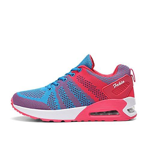 LILY999 Zapatos de Deportivas de Running para Mujer Gimnasia Ligero Malla Air Cushion Sneakers Aire Libre Fitness Zapatos Azul/Rojo