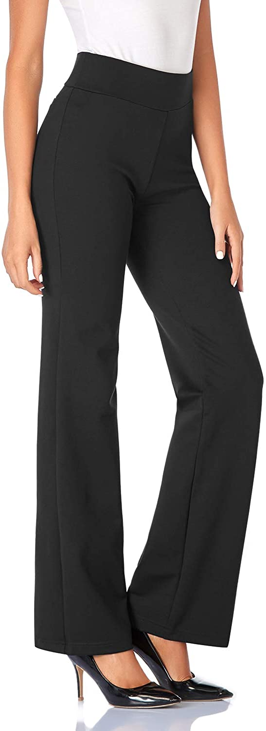 Tapata Women's 30''/32''/34'' High Waist Stretchy Bootcut Dress Pants Tall, Petite, Regular for Office Business Casual34, Black, L