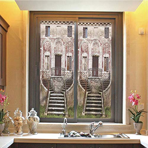 Tuscan 3D No Glue Static Decorative Privacy Window Films, Rustic Window Old Wooden Shutter Flower Pot on Medieval Stone Wall,17.7