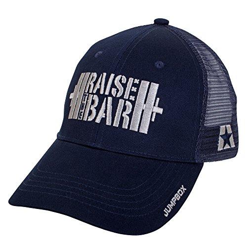 Jumpbox Fitness Raise the Bar Barbell Weightlifting - Blue - Curved Bill Snapback Trucker Hat Train Trucker Hat