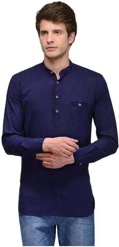 Indian Handicrfats Export Navy Blue Solid Regular Fit Cotton Mens T-Shirt