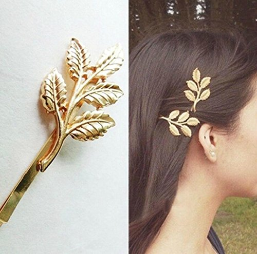 Botrong Hair Clip, European Style Hair Accessories Fashion Lovely Leaves Metal Hairpin (Gold) (Ring Gothic 14k)