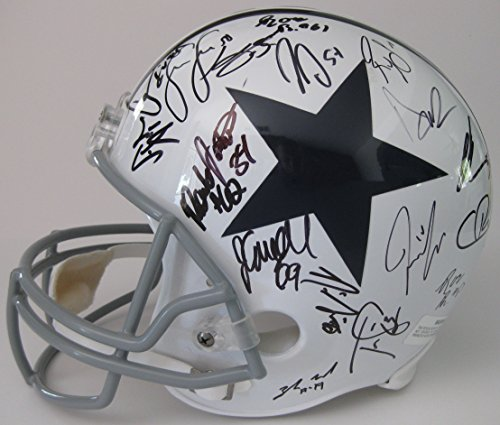 2017 Dallas Cowboys, Team, Signed, Autographed, Full Size Football Helmet, a COA with the Proof Photos of the Cowboys Players Signing the Helmet Will Be (Dallas Cowboys Autographed Pro Football)
